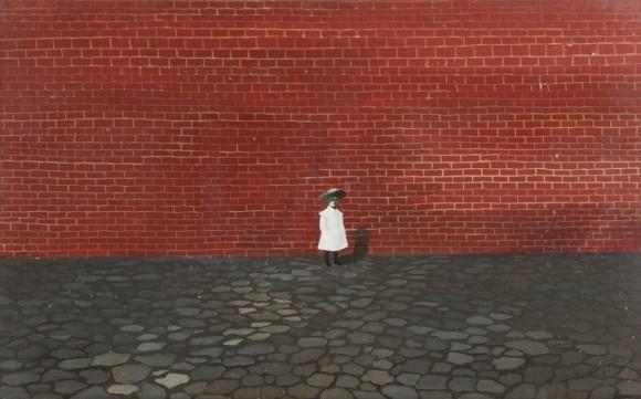 Kislány fal előtt_olaj,vászon_1955_Rómer Flóris Művészeti és Történeti Múzeum, Vasilescu-gyűjtemény