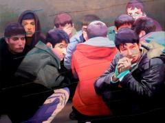 Birkás Ákos_Tíz guggoló fiatal festőművész, 2012, olaj, vászon, 80x100 cm, Tihanyi-Bakos Fotó Stúdió(1)